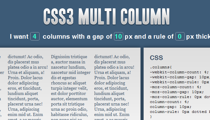 CSS3 Multi Column Layout Generator