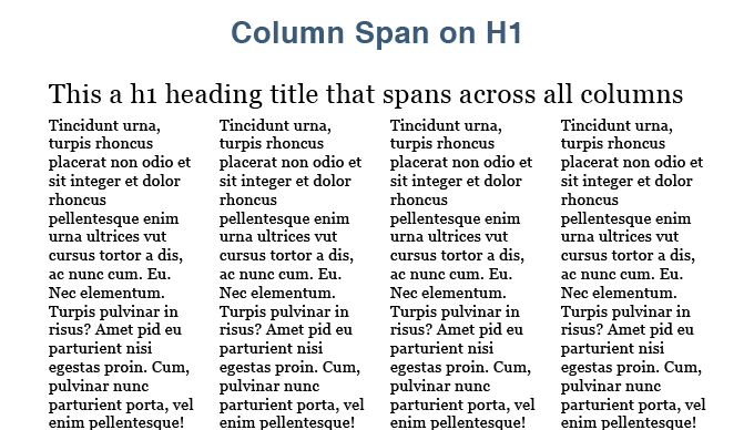 CSS3 Multi Column span