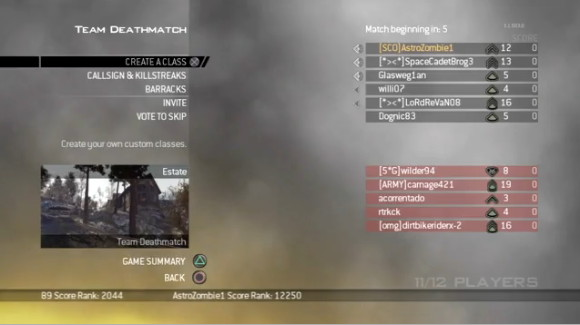 Modern Warfare 2 Menu