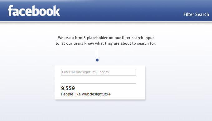 webdesigntuts Facebook app filter search