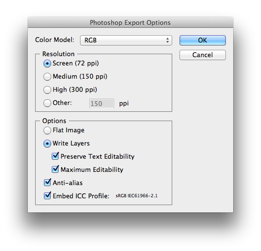 Photoshop Export Options