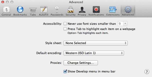 Safari 6 Advandced Preferences