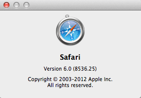 Safari Version Number Screenshot