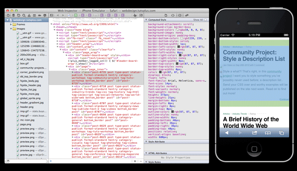 Screenshot iOS simulator and web inspector