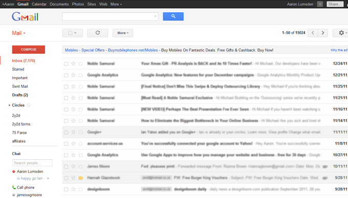 gmail layout