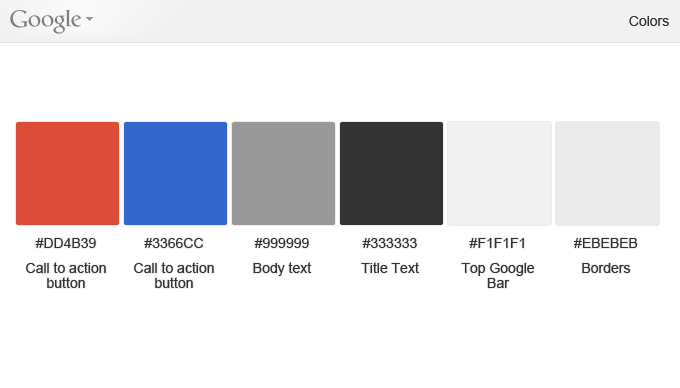 google ui colors