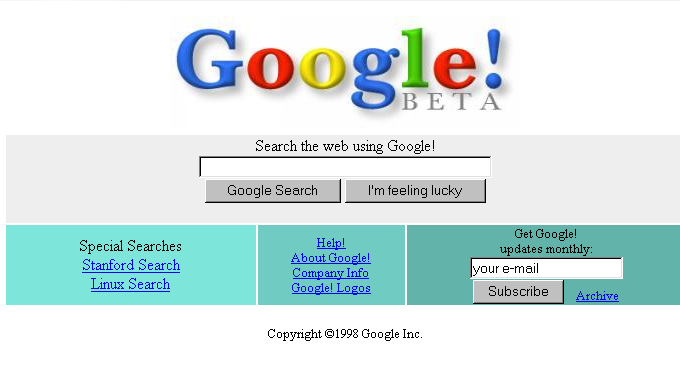 original google homepage
