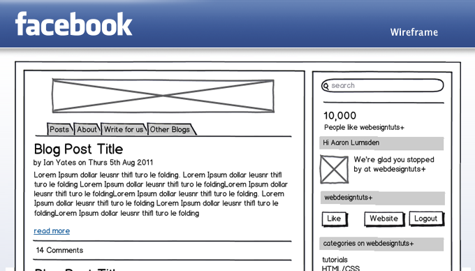 facebook app ui wireframe