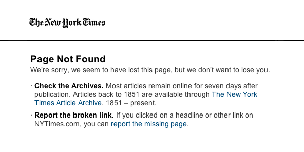 Report broken links at NYT